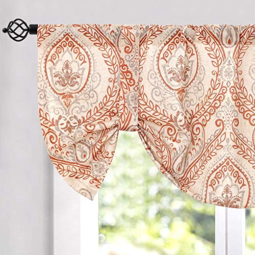 jinchan Tie Up Valance for Living Room Damask Printed Paisley Curtains Rod Pocket Drapes Multicolor Medallion Flax Window Curtain 1 Panel 50' W x 20' L Red