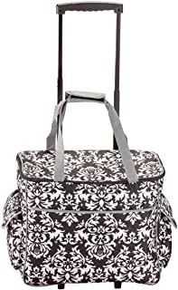 Sewing Accessories Rolling Sewing Machine Tote with 6 Storage Pockets - Damask,LARGE