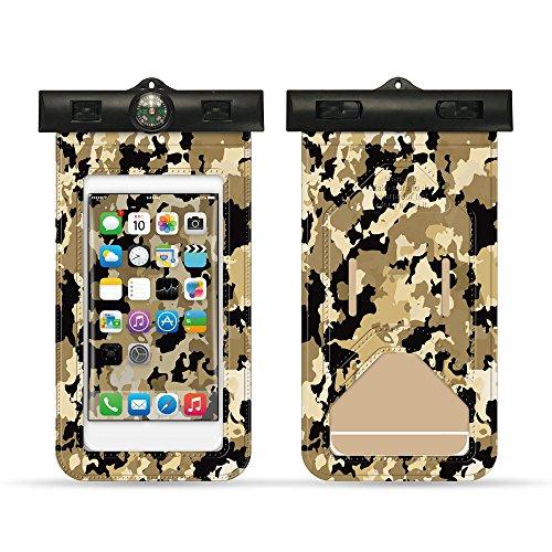 Pince Yue Camouflage PVC étanche téléphone Portable Coque Pochette Sac étanche avec Boussole pour la Plupart des Smartphones Moins de 15,2 cm, Style 1