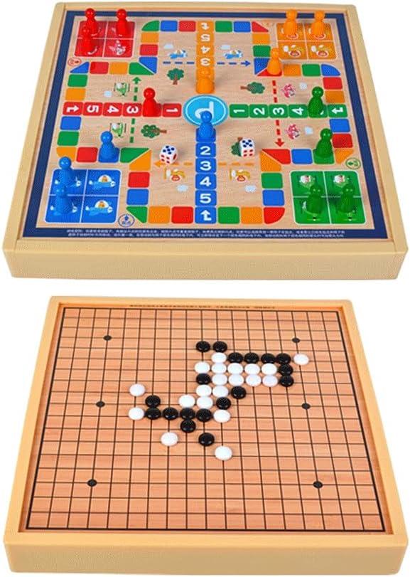 LOFAMI 2-in-1 Trust shopping Ludo Game Set,Wooden Family Ga Classic Travel