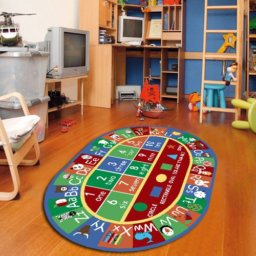 "Furnish my Place 755 Abc with Shape 3x5 Kids Alphabet Numbers Educational Nonskid, 3'3"" x5' Oval, Multicolor"