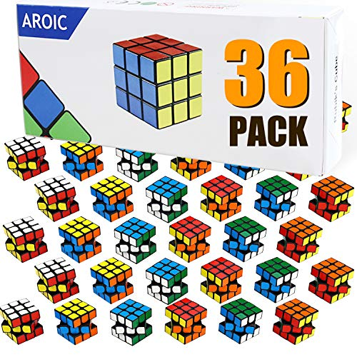 Mini Cube,36 Packs Puzzle Party Toy,Eco-Friendly Material with Vivid Colors, Cube Party School Supplies Puzzle Game Set for Boys and Girls, Magic Cube Goody Bag Filler Birthday Gift