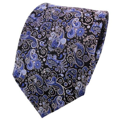 TigerTie Seidenkrawatte blau hellblau silber schwarz parsley - Krawatte 100% Seide