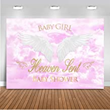 Mocsicka Heaven Sent Girl Baby Shower Backdrop 7x5ft Vinyl White Cloud Baby Girl Angel Wings Photo Backdrops Pink Sky Heaven Sent Theme Party Banner Photography Background