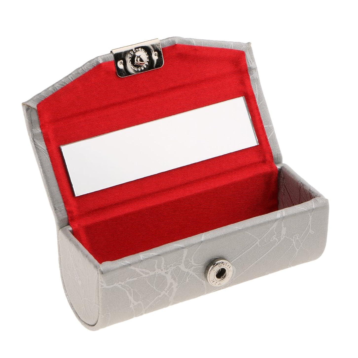 世界に死んだマウンドジョグBlesiya リップスティックケース ミラー付き レザー リップスティック リップグロスケース 収納ボックス メイクホルダー 多色選べる - 銀