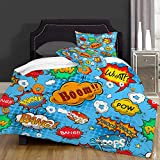 LENYOVO Juegos de Fundas para edredon,Ropa de Cama,Superhero Colorful Comic Style Icons Effects Boom Scream Magazine Signs Pop Art Illustarion,Fibrae Xtrafina,Edredones y 2 Almohadas