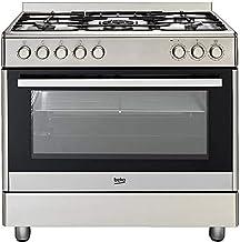 Beko GM 15020 DX - Olla eléctrica de gas (panel lateral B/104 litros, interior de acero inoxidable, 5 hornillos con quemador de wok [clase energética A]