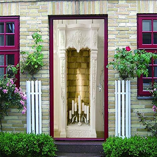 3D deur muur stickers 3D - deur stickers slaapkamer deuren waterdichte stickers open haard DIY Murals voor wonen slapen kantoor - muur - sticker slaapkamer - huis - venster 77X200Cm