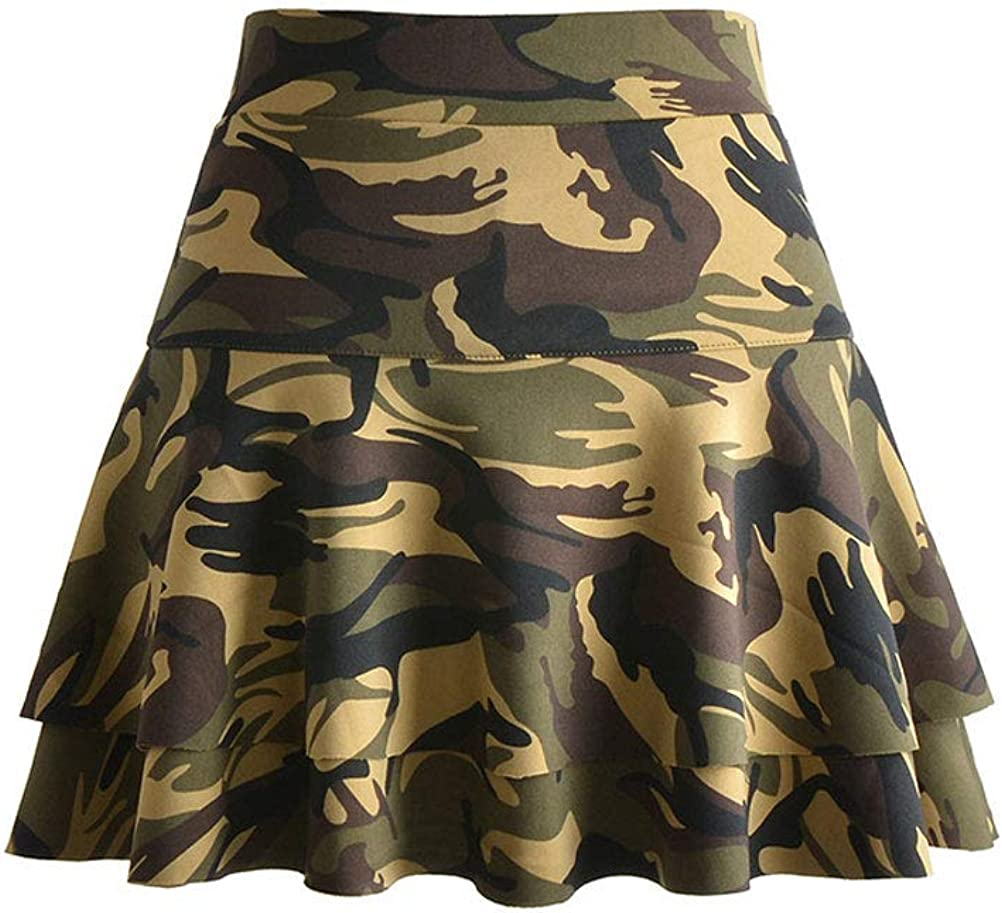 KENSHELLEY Womens Casual 2-Layer Elastic High Waist Flared Mini Short Pleated Skater Skirt