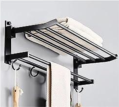 Badkamer opvouwbare handdoekenrek zwart ruimte aluminium handdoekenrek met haak badkamer handdoek rack-punch gratis 0401 (...