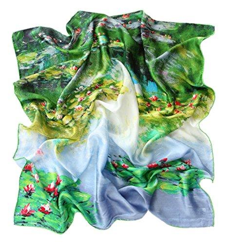 Prettystern prettystern Damen Handrolliert Seidentuch Kunst-motiv Seerosen Grün-weiß 90 Cm Tuch Monet 100% Seide P067