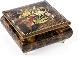 Floral Arrangement with Lady Bug Wood Inlay 18 Note Musical Jewelry Box - Over 400 Song Choices - Ave Maria, Schubert