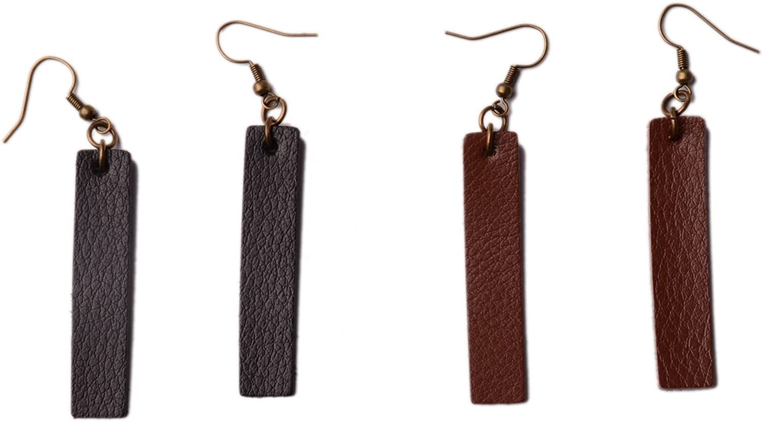 Ranking TOP16 LN Rainbery 2 Pairs Bar Antique Looking Earrings Be super welcome Rectan Leather