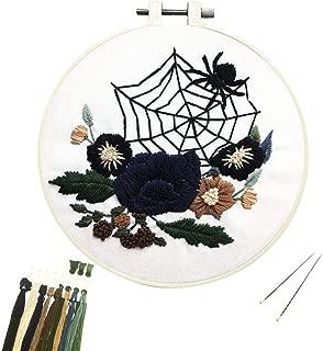Louise Maelys Beginner Embroidery Kit Halloween Spider Web Flower Cross Stitch Full Range DIY Embroidery Kit with Pattern Stamped Embroidery Kits Set for Starter