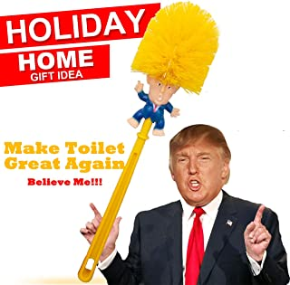 Donald Trump Toilet Brush Cleaner Scrubber Funny Trump Toilet Bowl Brush Gift Doll for Bathroom Deep Cleaning Make Toilet Great Again