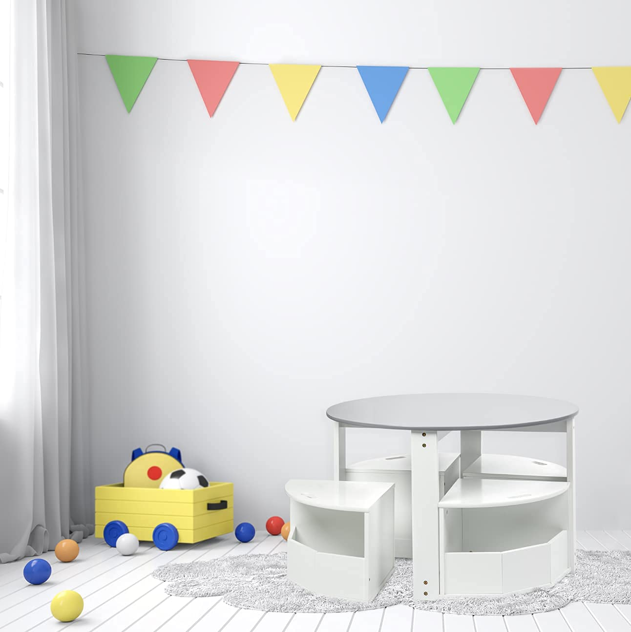Milliard Table and Chair Set for Kids- Round Nesting Design with 4 Storage Stools