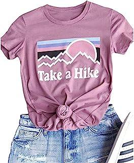 Xiaomomo Womens Take A Hike Printed Short Sleeves T-Shirt Casual Camping Hiking Graphic Tee Tops
