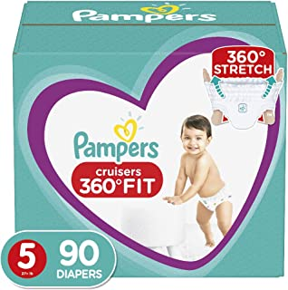 Diapers Size 5, 90 Count - Pampers Cruisers 360˚ Fit Disposable Baby Diapers, Enormous Pack