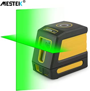 Laser Level Green Line Level Self Leveling MESTEK 98ft Alignment Tools Cross Horizontal Vertical Lines Full Soft Rubber Covered Soft Carrying Pouch Batteries Mount Base for Wall House Ceiling Gift