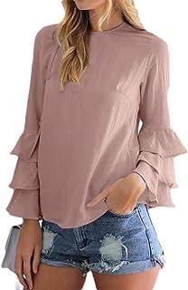 Suncolor8 Womens Lightweight Plus Size Chiffon Solid Ruffle T-Shirt Shirt Blouse Top