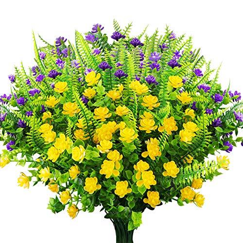 GREENRAIN 6 Bundles Artificial Flowers Outdoor Fake Plants UV Resistant Faux Plastic Flowers Garden Window Box Porch Home Decor Yellow + Purple