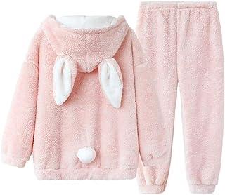 JJZXD Lindo Invierno Pijamas Conjunto Mujeres Lolita Conejito Ropa de Dormir Caliente Chicas Kawaii Conejo Peluche Pantalones de sueño Rosa salón casero camisón (Size : Medium)