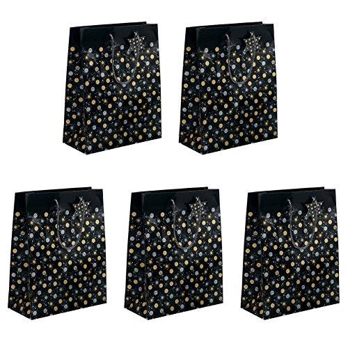 SIGEL GT028 große Papier-Geschenktüten 33 x 26 cm, 5er Set, schwarz/gold/silber, Weihnachten - weitere Größen