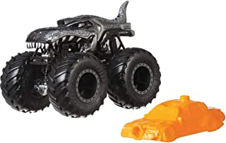 Hot Wheels Monster Trucks MEGA WREX Creature Vehicle - Connect and Crash Car Included 39/50 1:64 - Silver Car with Giant Wheels