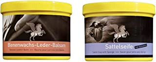 Carmesin B & E Bienenwachs Lederbalsam  Sattelseife Set a 500 ml Polsterreiniger, Lederreiniger Handtaschen, Schuhe
