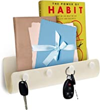 Self-Adhesive Wall Mount Mail Letter Holder with 4 Key Hooks Organizer ~Holds Car/House Keys, Leashes, Mails, Phones(Beige)