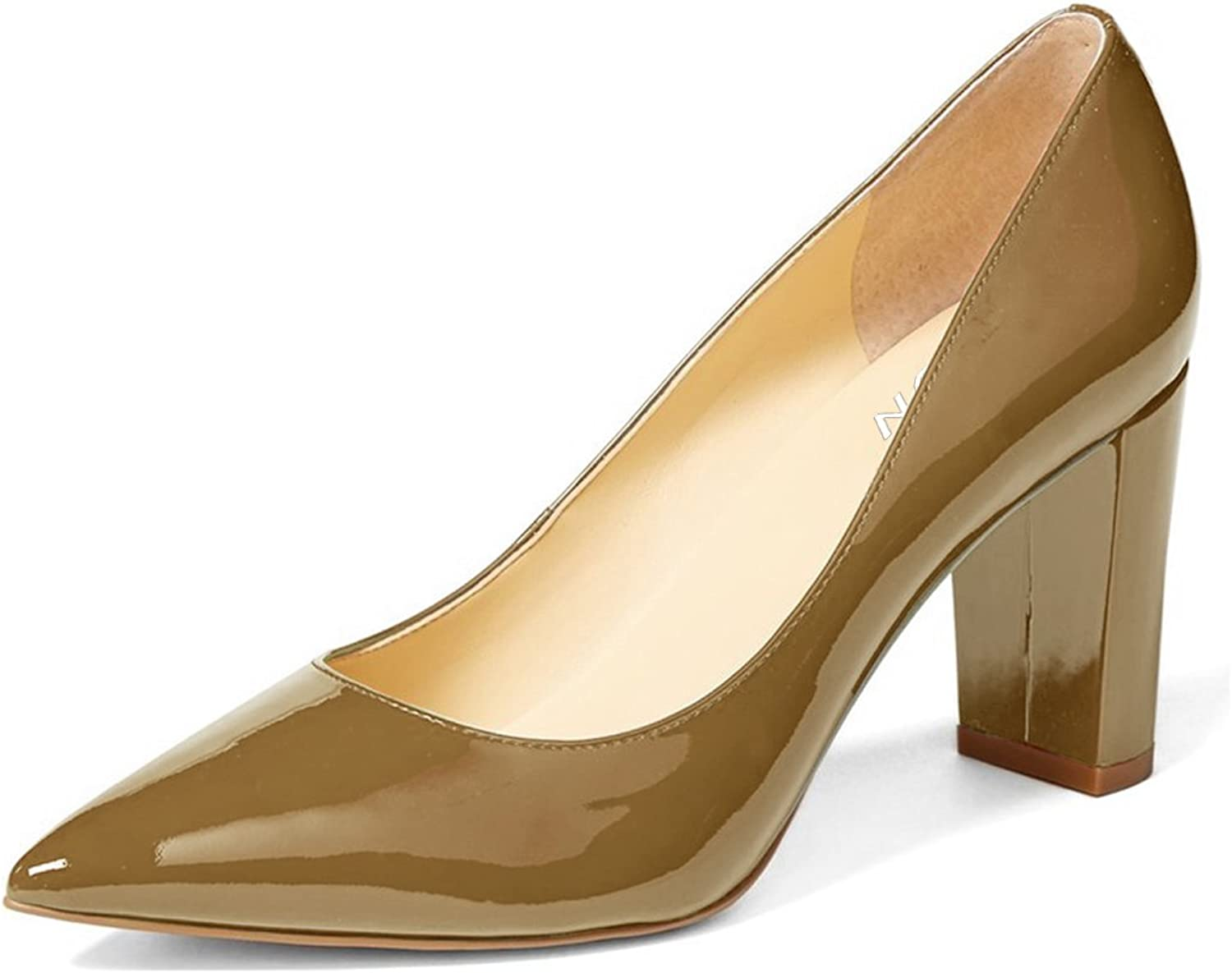 YDN Women's Classic Pointy Toe OL Pumps Slip-on Patent Leather Block Heel Dress shoes