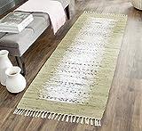 Safavieh Montauk Collection MTK711K Handmade Flatweave Ivory and Olive Cotton Runner (2'3' x 7')