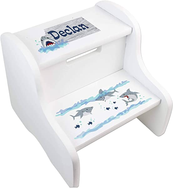 MyBambino Personalized Shark Tank White Dual Height Step Stool For Kids Toddler