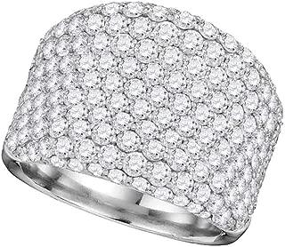 Diamond Wide Fashion Band Big Fancy Ring Round Pave Set Style Womens 3.85ct 14k White Gold