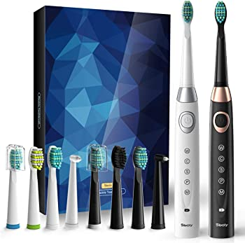 2-Pack Sboly Sonic Electric Toothbrushes 5 Modes 8 Brush heads