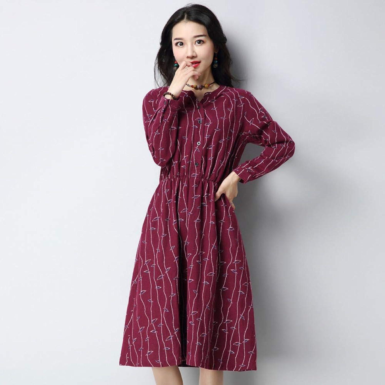 Cxlyq Dresses Autumn Female Floral Dress Large Size Loose A Word Long Sleeve Medium Long Casual Skirt