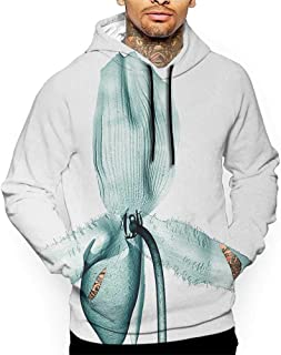 Hoodies Sweatshirt Pockets Flower,Picture of a Flower with X-ray Effect Deeper Look to The Nature Modern Design Print,Teal White Zip up Sweatshirts for Women