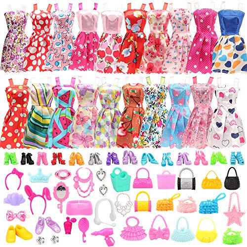 Miunana 75 Kleidung Zubehör für 11,5 Zoll Mädchen Puppen = 15 Kleider + 40 Accessoires + 10 Schuhe + 10 Handtasche für Barbie Puppen