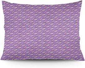 GULTMEE Throw Pillow Cushion Cover, Vintage Deep Deck Girlie Scooters on a Purple Shaded Background, Decorative Standard Queen Size Printed Pillowcase, 16