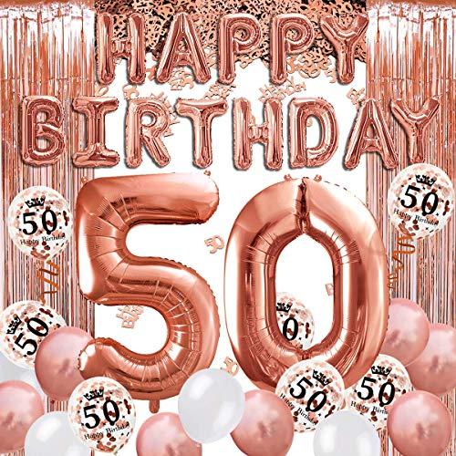 iZoeL Decorazioni Compleanno Rosa Oro 18 30 40 50 21 anni, Palloncini Festone Happy Birthday, 24 Coriandoli Palloncini, Tovaglia, Tenda a Frange (50)
