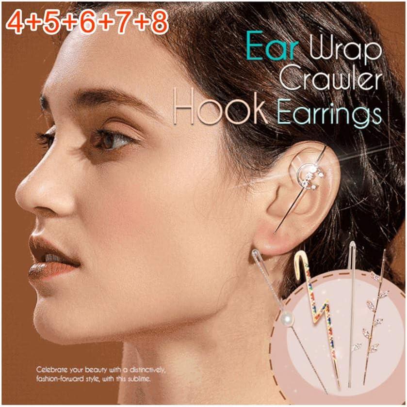 Small 1/5pcs Ear Wrap Crawler Hook Earrings Women Alloy Rhinestone High Polished Earrings for Women Girls