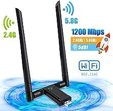 PiAEK WiFi Adaptador USB 1200Mbps Antena WiFi USB AC 5dBi Dual Band 5.8G/2.4G Receptor WiFi USB para PC Laptop para Windows 10/7/8/XP/Vista Linux Mac