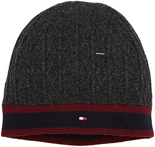 Tommy Hilfiger Mannen Cable&Stripe Beanie Gebreide muts, Grijs (Charcoal Htr 004), One Size