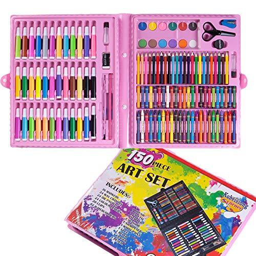 OGOUGUAN - Juego de artes artificiales, dibujo y pintura, estuche de colores, lápices de acuarela, rotuladores de pastel, educativos, regalo para niños, artistas y adultos