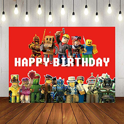 Gemten Video Game Birthday Party Supplies and Decorations 7X5 FT Photo Backdrop for Boy Girl Baby Shower Kids Bedroom Wall Decor