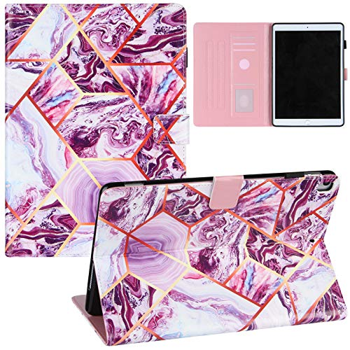 JCTek Marble Case Compatible for iPad 10.2 Inch 8th Gen (2020)/7th Gen (2019),PU Leather Flip Folio Stand Protective Cover for iPad Pro 10.5' 2017/2019 (Stitching Marble-Purple)