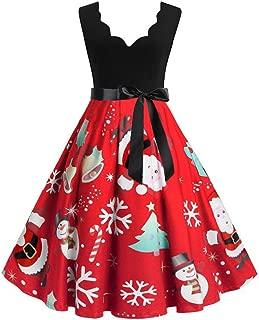 Womens Sleeveless V-Neck Christmas Dress with Belt