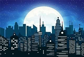AOFOTO 6x4ft Abstract Modern Urban Building Backdrop Super City Manor Moon Night Photography Background Kid Boy Baby Artistic Portrait Cartoon Photo Shoot Studio Props Video Drop Vinyl Wallpaper Drape