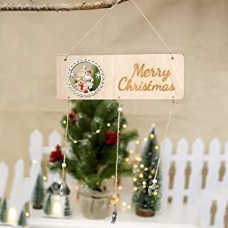 FEILI Christmas Wooden House Number Pendant Christmas Decoration Wind Chime, Snowman