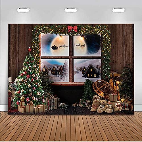 Fondo para fotografía navideña, Ventana de Invierno, Nieve para Estudio, árbol de Fotos, Juguetes navideños, Regalos, Soporte, foto-250x180CM